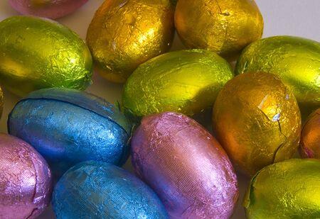 Assortment of multi-coloured chocolate easter eggs