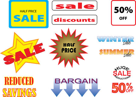 Vector image of various offers and sales signs