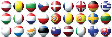 27 coloured balls representing the 27 nations of the European Union photo