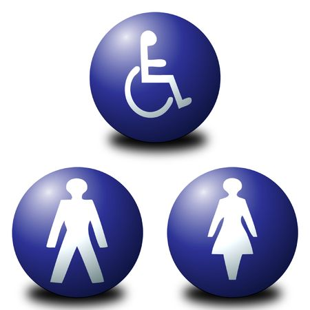 3D spherical toilet signs including men, women and disabled Stock Photo - 2682105