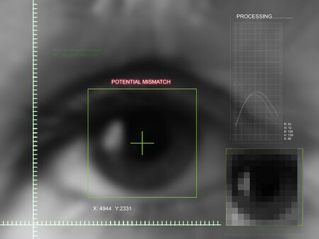Concept image of possible future biometric identification system        Stock Photo