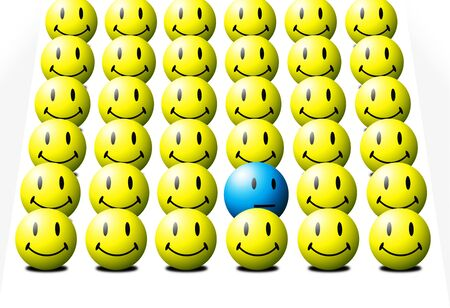 One blue face among several yellow faces signifying the odd-one-out