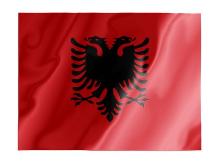 Fluttering image of the Albanian national flag