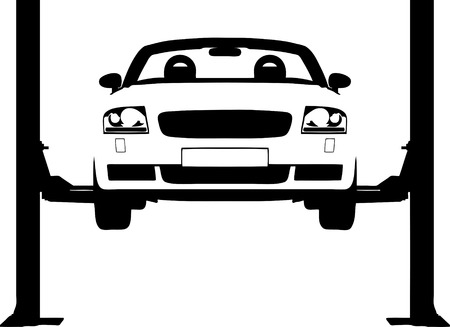 Vector illustration of a car on a hydraulic ramp