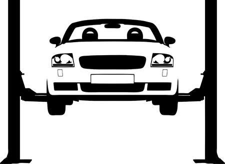 idraulico: Vector lillustrazione di un automobile su un idraulico dilagano