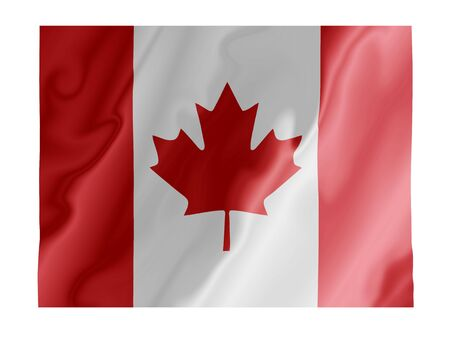 mountie: Fluttering image of the Canadian national flag Stock Photo