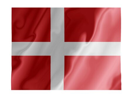 norse: Fluttering image of the Danish national flag Stock Photo