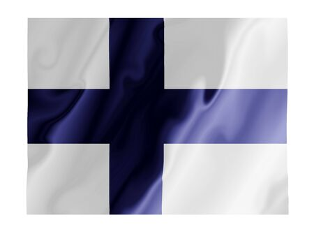 Fluttering image of the Finland national flag Stock Photo