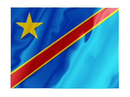 fluttering: Fluttering image of the Democratic Republic of Congo national flag