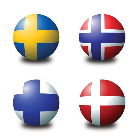 3D spherical flags representing scandinavian countries Stock Photo