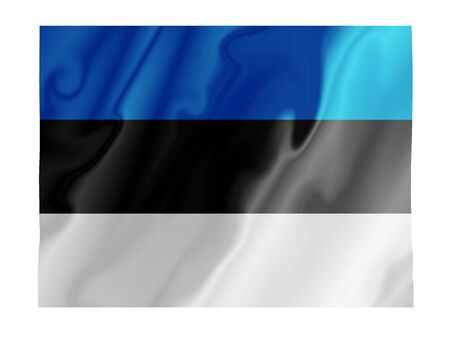 Fluttering image of the Estonian national flag Stock Photo
