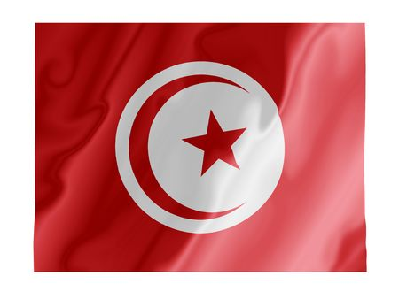 Fluttering image of the Tunisian national flag Stock Photo