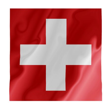 Fluttering image of the Swiss national flag Stock Photo