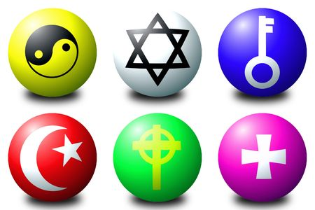 3D spheres showing various symbols