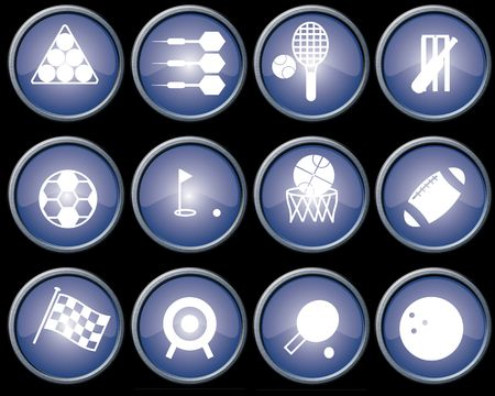 Assorted blue-glazed sports icons and buttons with brushed metal effect surrounds Stock Photo