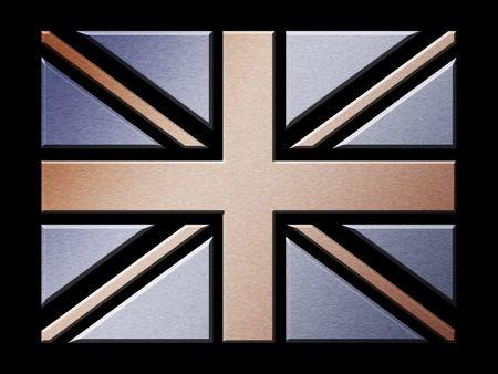 Illustration of brushed metal effect British flag Stock Illustration - 2820405