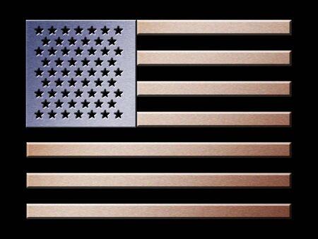 Illustration of brushed metal effect American flag Stock Illustration - 2820402