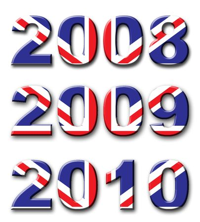 2008, 2009 and 2010 years with union jack design Stock Photo - 2826139