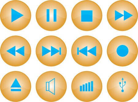 Vector graphic of stereo buttons with amber glaze