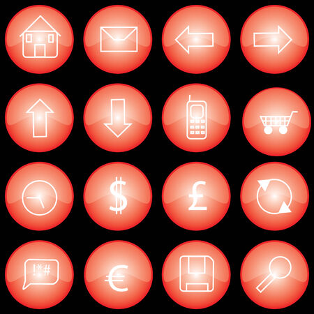 застекленный: Collection of web buttons or icons with red glazed finish