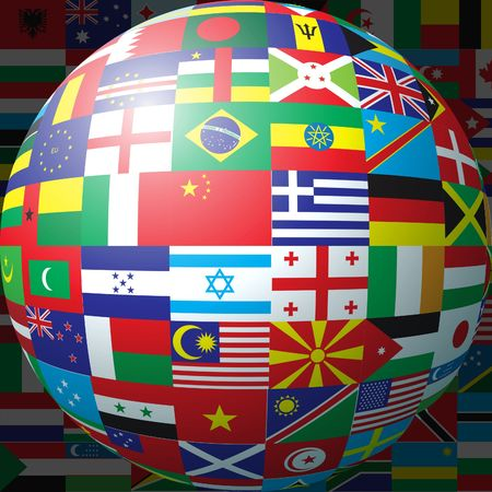 3D sphere made up of national flags photo
