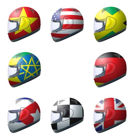 Motorcycle helmets with different designs 1 Stock Photo