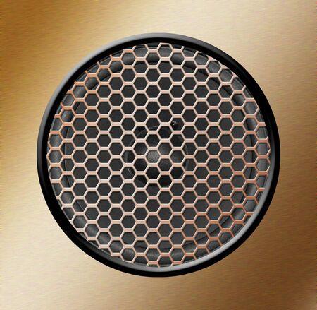 Illustration of a speaker behind a copper grille illustration