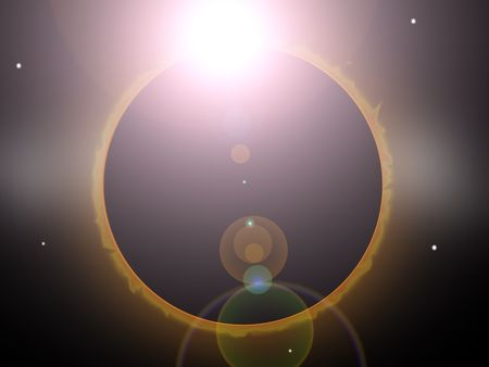Illustration of a full solar eclipse  Stock Photo