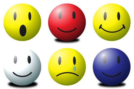 Various coloured 3D smilies against a white background  Stock Photo