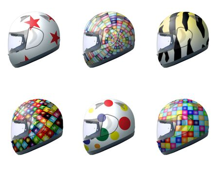 Motorcycle helmets with different designs 3