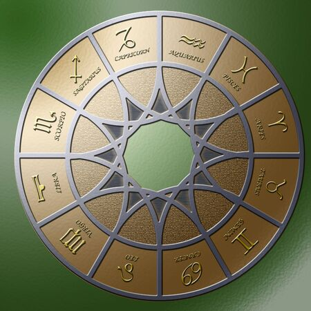 Illustration of a metal circle containing 12 embossed zodiac signs