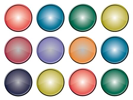 Various blank glazed buttons against a white background Stock Photo