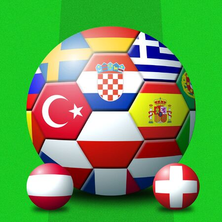 euro area: Football with 3D ball representation of tournament flags