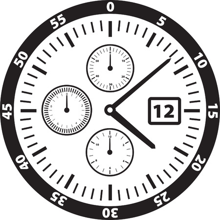 hand movements: Vector Illustration of a watch or clock face
