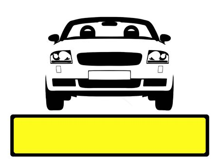 licence: Illustration of car with blank licence plate panel for custimizing  Stock Photo