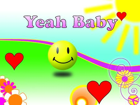 yeah: Illustration consisting abstract 70s elements with Yeah Baby message Stock Photo