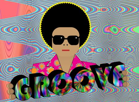 Illustration of retro funky character with GROOVE lettering  Stock Photo