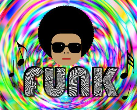 funk: Illustration of retro funky character with FUNK lettering