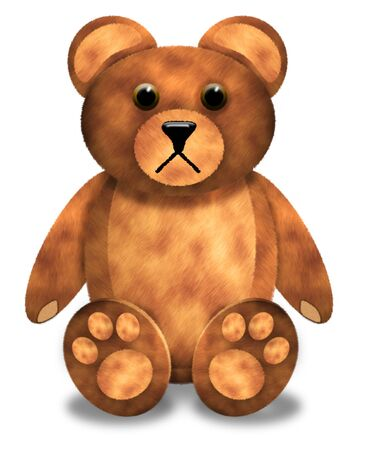 Illustration of a sad-looking toy bear against a white background
