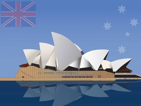aussie: Vector illustration of Sydney Opera House in Australia