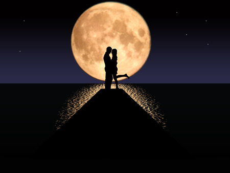 Illustration of a couple kissing in the moonlight