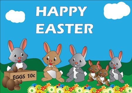 Vector illustration of rabbits lining up to buy Easter eggs Illustration
