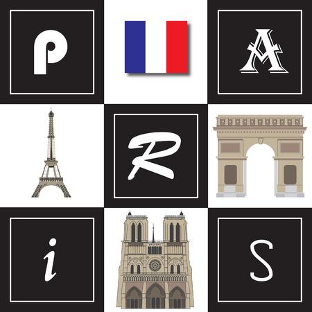 Illustration of various Paris landmarks with stylised PARIS lettering