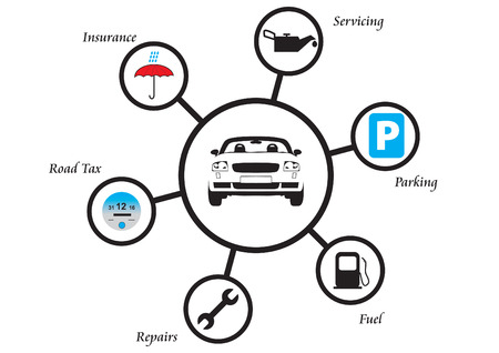 costs: Illustration showing the various costs associated with running a car Illustration