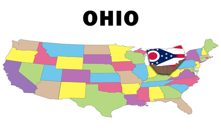 state boundary: Outline map of the United States with ohio raised and highlighted with the state flag