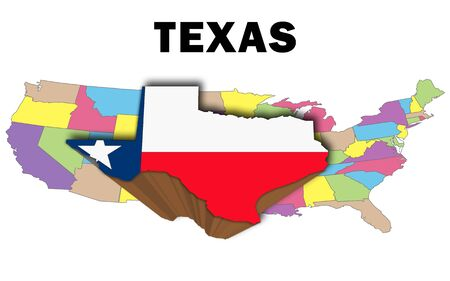 Outline map of the United States with texas raised and highlighted with the state flag
