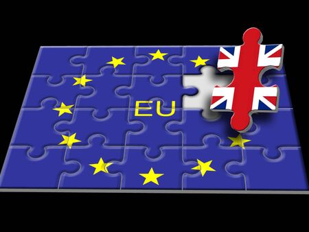 europian: Jigsaw puzzle made up of European Union flag with the United Kingdom as the last piece