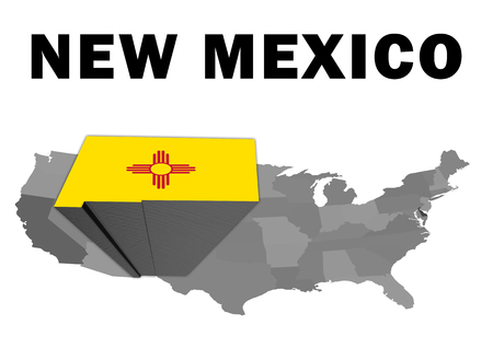 Outline map of the United States with the state of New Mexico raised and highlighted with the state flag Stock Photo