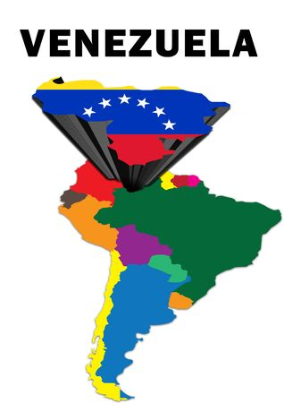 Outline map of South America with Venezuela raised and highlighted with the national flag