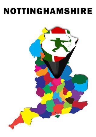 Outline map of England with Nottinghamshire raised and highlighted with the county flag
